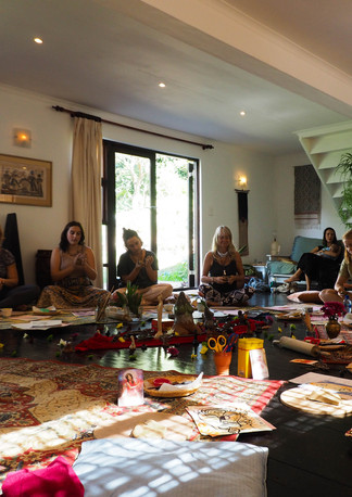 """Woman circle at """"Connect with self through clay and art workshop"""" Bodhi Breathwork and Yoga, Hout Bay, Cape Town, South Africa"""