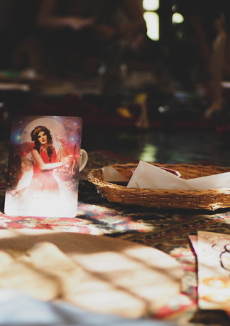 """Tarot card and art during """"Connect with self through clay and art workshop"""" Bodhi Breathwork and Yoga, Hout Bay, Cape Town, South Africa"""