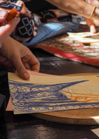"""Painting during """"Connect with self through clay and art workshop"""" Bodhi Breathwork and Yoga, Hout Bay, Cape Town, South Africa"""