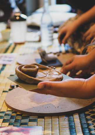 """Clay artwork during """"Connect with self through clay and art workshop"""" Bodhi Breathwork and Yoga, Hout Bay, Cape Town, South Africa"""