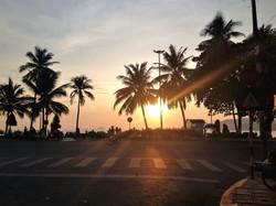 Sunrise and palmtrees over the ocean in Mui Ne, Vietnam
