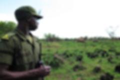 African ranger in Ziwa Rhino Sanctuary, Uganda