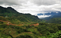 Ricefields, mountains and dark clouds in Sapa, Vietnam