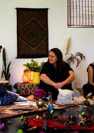 """Happy ladies in woman circle during """"Connect with self through clay and art workshop"""" Bodhi Breathwork and Yoga, Hout Bay, Cape Town, South Africa"""