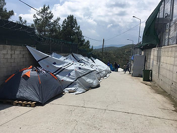 Self improvised tent in refugee camp Moria, in Lesvos