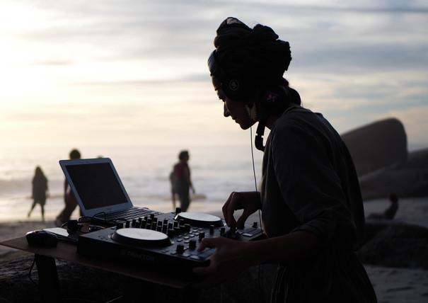 DJ at Conscious Beach Dance at Clifton 1, Cape Town