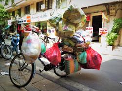 full bike, luggage on the bicycle in Hanoi, Vietnam