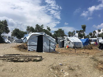 Self improvised tent in refugee camp the Olive Grove, next to Moria, in Lesvos