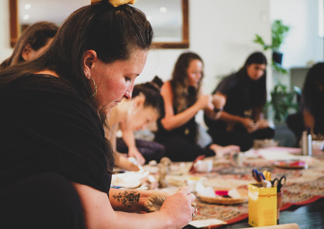"""Sonette, facilitator at """"Connect with self through clay and art workshop"""" Bodhi Breathwork and Yoga, Hout Bay, Cape Town, South Africa"""