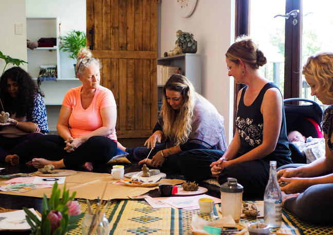 """Woman circle during """"Connect with self through clay and art workshop"""" Bodhi Breathwork and Yoga, Hout Bay, Cape Town, South Africa"""