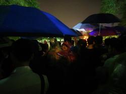 Festival in the rain with umbrellas Hanoi