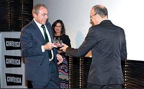 Recogiendo el premio de Días de Cine de RTVE en representación de 20th Century Fox en 2017. (J. I.)
