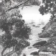 Leguria Italy Harbor Pencil Drawing