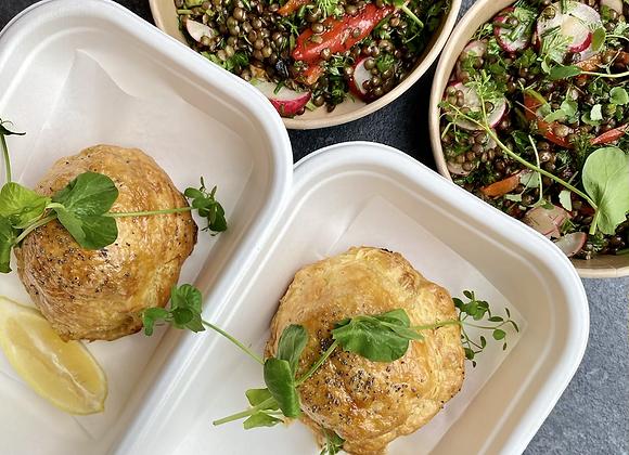 Zalm en croûte met venkel, paddenstoel & linzen du puy salade