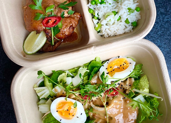 Gado gado, gegrilde kippendij & rijst