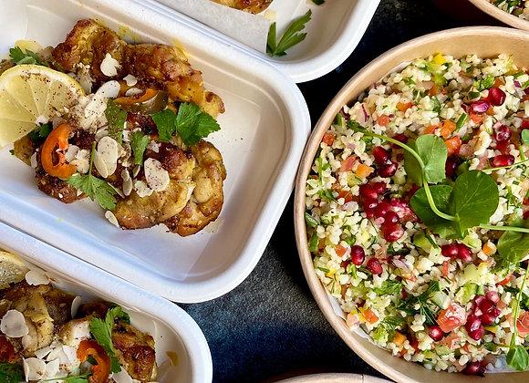 Bulger salade met gegrilde kip en baharat