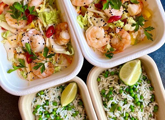 Garnalencurry, rijst & groente