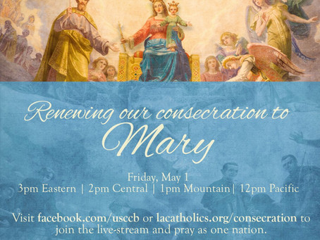 Very important event Friday invoking Mary to end the pandemic
