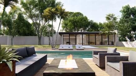 Praça do fogo e deck da piscina
