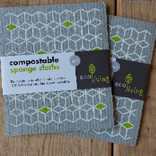 Compost sponge cloth
