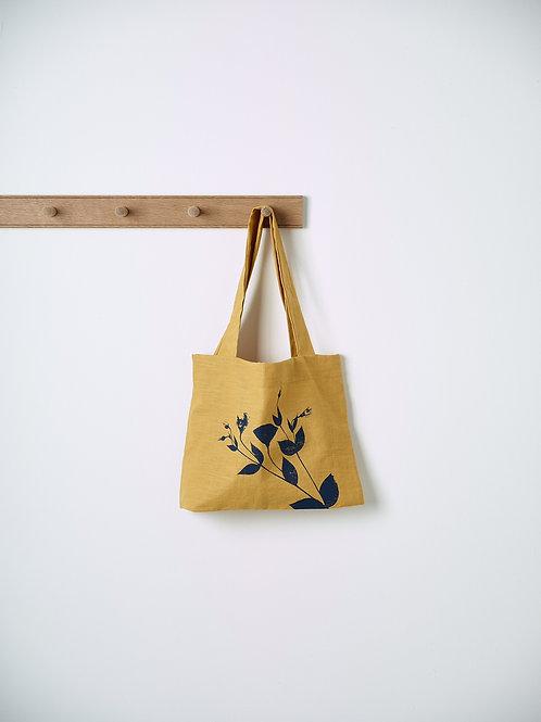 Saffron linen market bag
