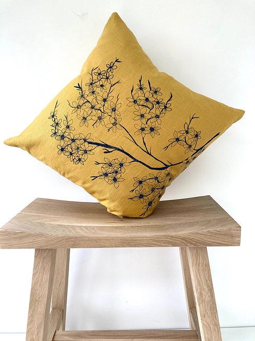 Saffron linen cushion