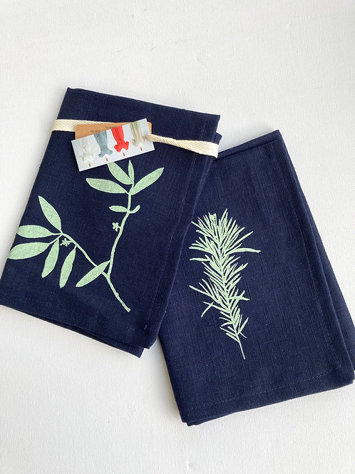 Pair of blue linen napkins