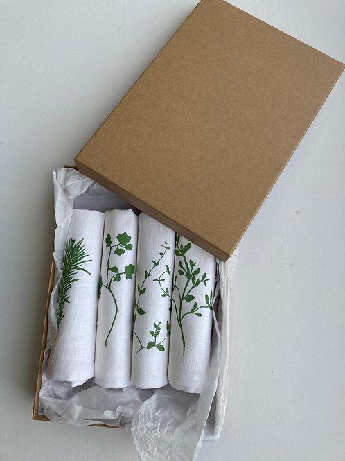 Gift set of four linen napkins