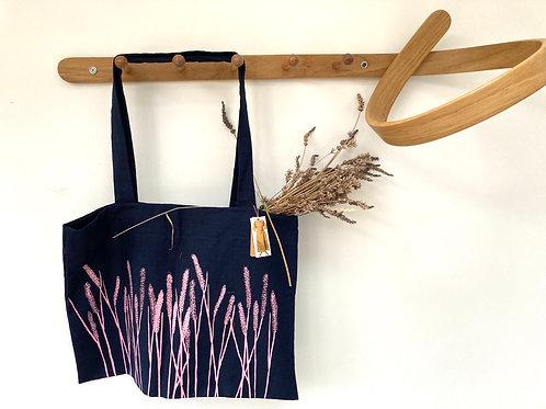 Blue Market Bag with Lavender Print