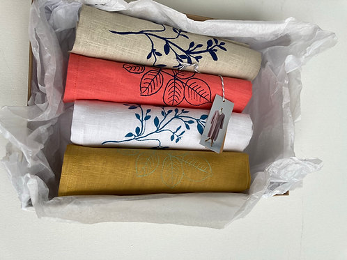 Gift box of hand printed linen napkins
