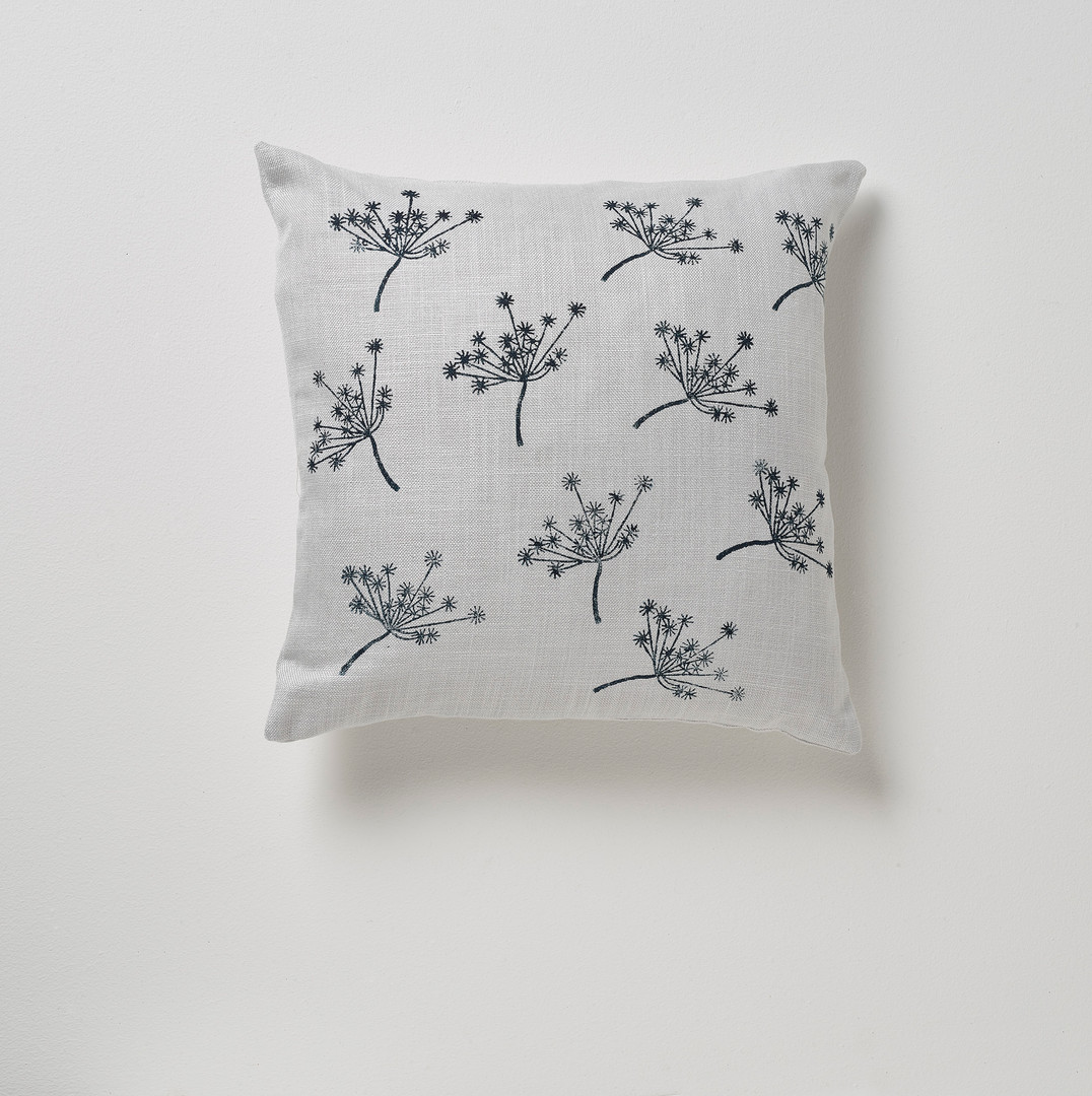Feather filled linen cushion with handprinted design . 38cm x 38cm