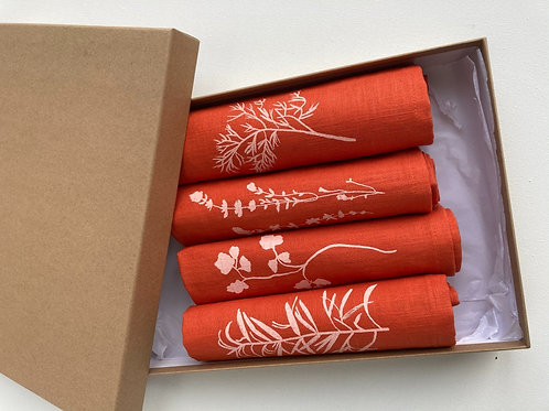 Gift Set of Four Napkins in Burnt Orange