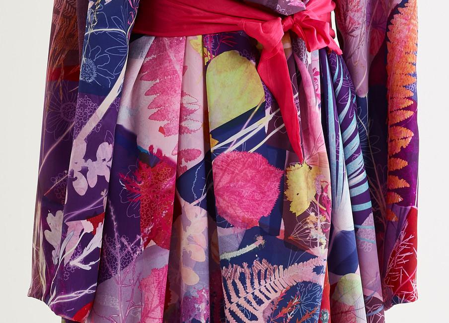 Summer Kimono, handprinted using natural leaves
