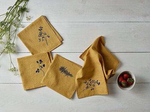Saffron linen napkins- 4
