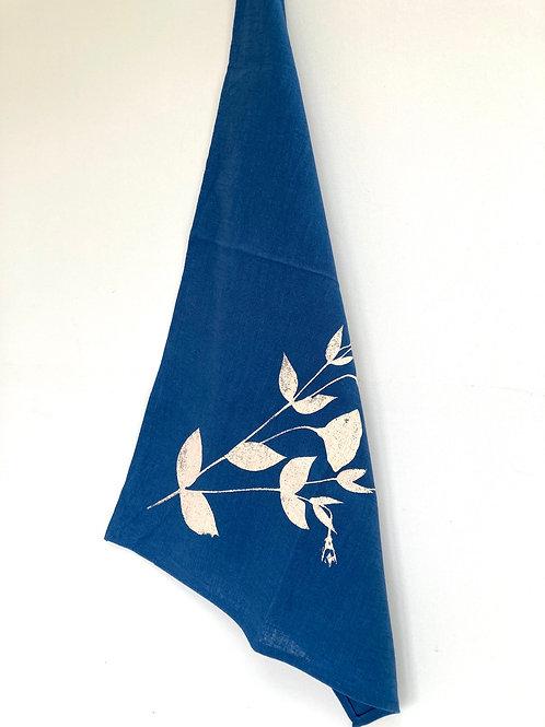 Hand printed Blue Linen Towel- Rose Design