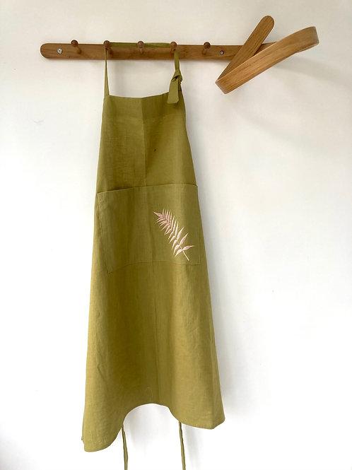 Moss green linen apron