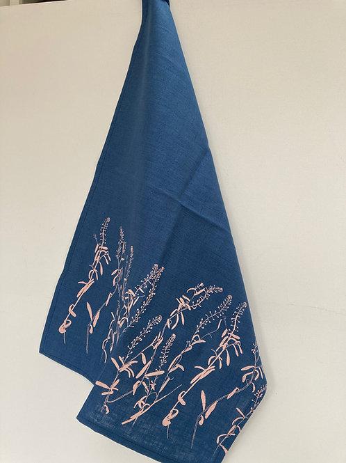 Hand printed blue linen towel, blush grasses