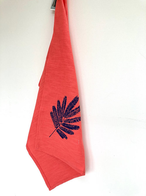 Hand printed coral linen towel
