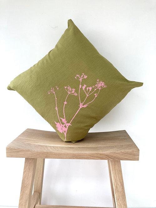 Moss Green Linen Cushion
