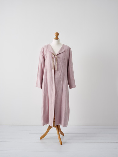 Linen coat with hand printed lining
