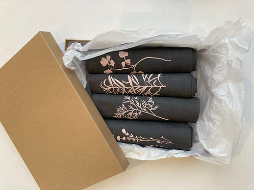 Gift Box of Hand printed Grey Linen Napkins