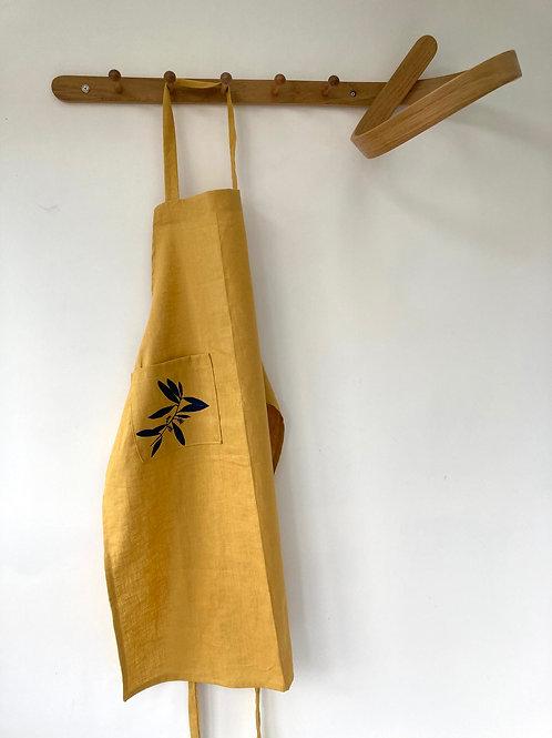 Saffron linen apron