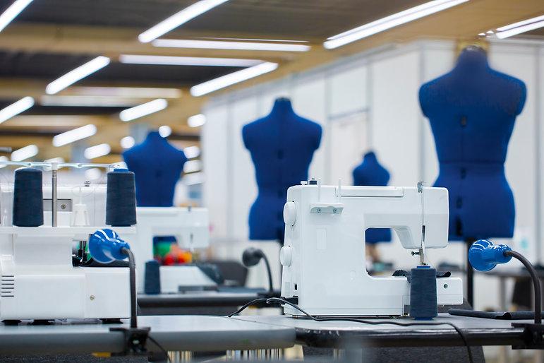 Interior of garment factory . Closes mak