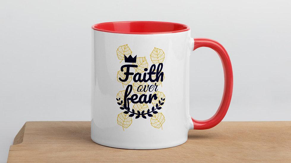 Faith Over Fear Mug with Color Inside