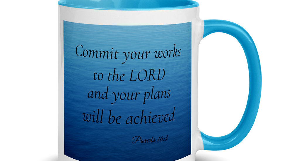 Proverbs 16:3 Mug with Color Inside