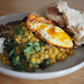 Spinach dahl w/ paprika fried eggs and spiced naan bread