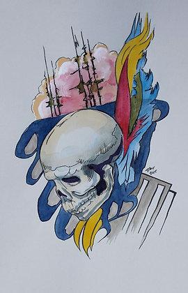 """Skull & Trees 9""""x12"""""""