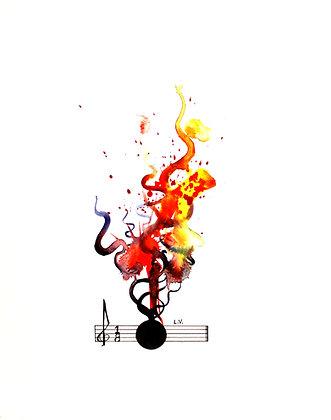 "For Bass Drum Op. 17 No 1 Signed Giclée 10""x12"""