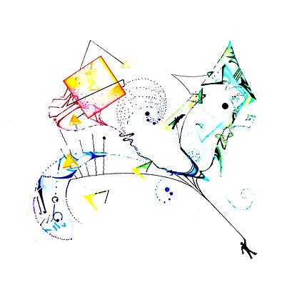 "Eclectic Umbrella Giclee Print 8""x8"""
