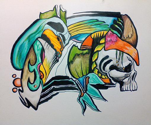 "Skull Profile 18""x24"""